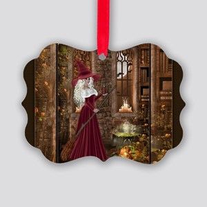 Witch with Candle Picture Ornament