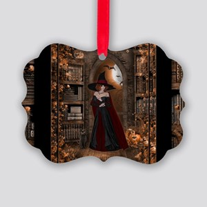 Witch in Library Picture Ornament