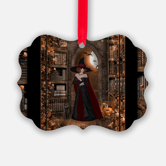 Witch in Library Ornament