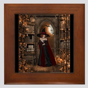 Witch in Library Framed Tile
