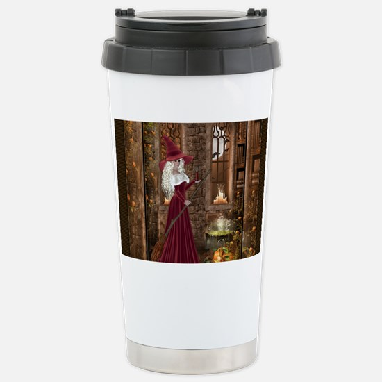Witch with Candle Stainless Steel Travel Mug