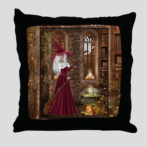 Witch with Candle Throw Pillow