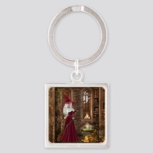 Witch with Candle Square Keychain