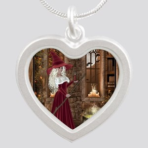 Witch with Candle Silver Heart Necklace