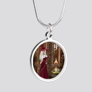 Witch with Candle Silver Round Necklace
