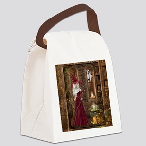 Witch with Candle Canvas Lunch Bag
