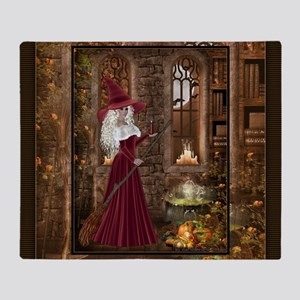 Witch with Candle Throw Blanket