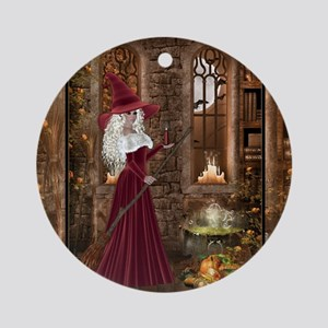Witch with Candle Round Ornament