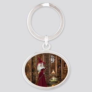 Witch with Candle Oval Keychain