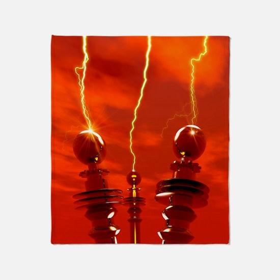 Tesla coils firing, artwork Throw Blanket