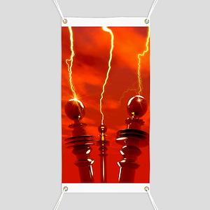 Tesla coils firing, artwork Banner