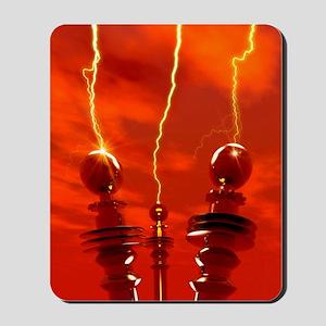 Tesla coils firing, artwork Mousepad