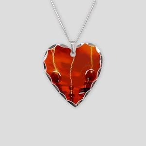 Tesla coils firing, artwork Necklace Heart Charm