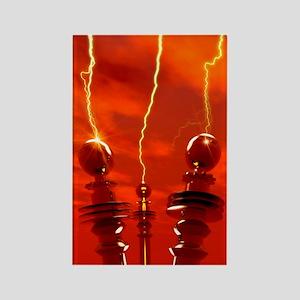 Tesla coils firing, artwork Rectangle Magnet