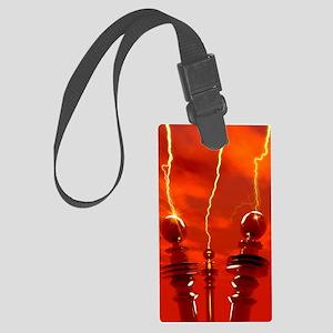 Tesla coils firing, artwork Large Luggage Tag