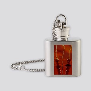 Tesla coils firing, artwork Flask Necklace