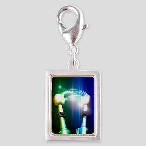 Tesla coils firing, artwork Silver Portrait Charm