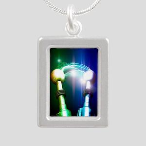 Tesla coils firing, artw Silver Portrait Necklace