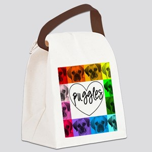 Puggle Collage 7 Canvas Lunch Bag