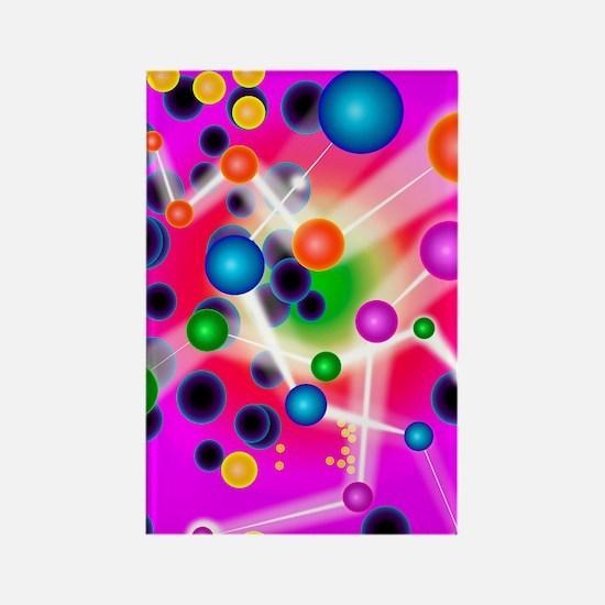 Subatomic particles, artwork Rectangle Magnet
