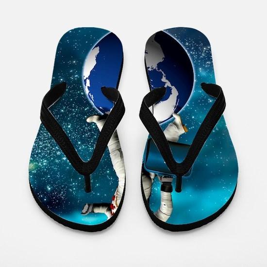 Space tourist, conceptual artwork Flip Flops
