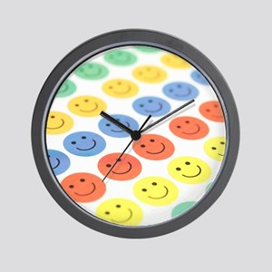 Smiley face stickers Wall Clock