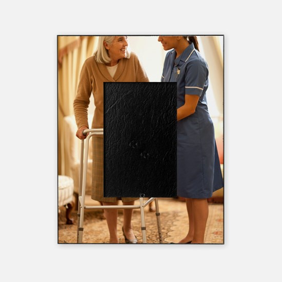Senior woman with walking frame Picture Frame
