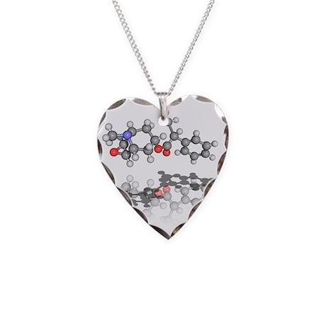 Scopolamine toxin molecule Necklace Heart Charm