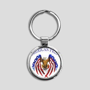 American Pride Eagle Round Keychain