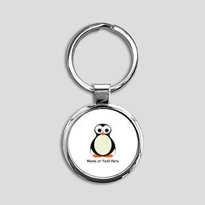 Penguin Personalized Round Keychain