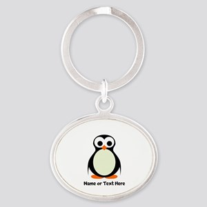 Penguin Personalized Oval Keychain