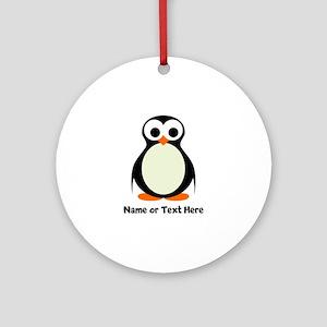 Penguin Personalized Round Ornament