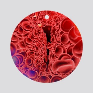 Red blood cells, computer artwork Round Ornament