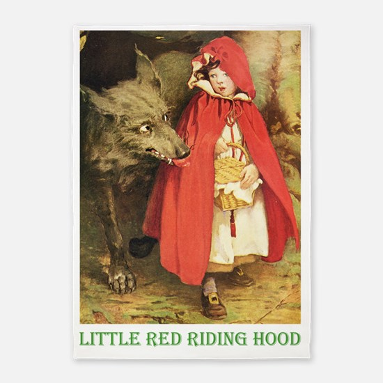 Little Red Riding Hood_green 5'x7'Area Rug
