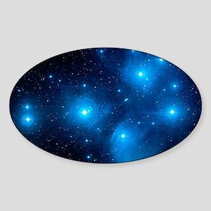 Pleiades star cluster (M45) Sticker (Oval)