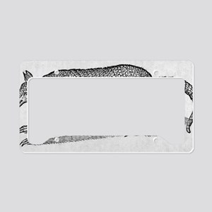 Woodcut illustration of an ar License Plate Holder