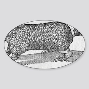 Woodcut illustration of an armadill Sticker (Oval)