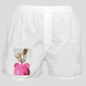 Piggy bank and US dollars Boxer Shorts