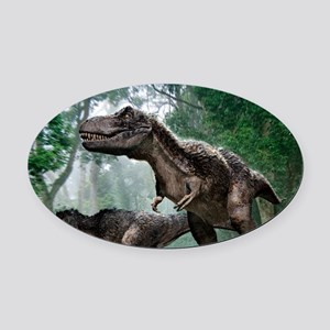 Tyrannosaurus rex dinosaurs Oval Car Magnet