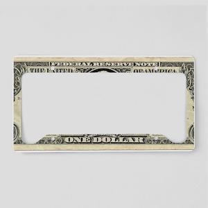 US dollar bill, George Washin License Plate Holder