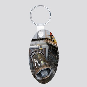 Tunnelling a sewerage pipe Aluminum Oval Keychain