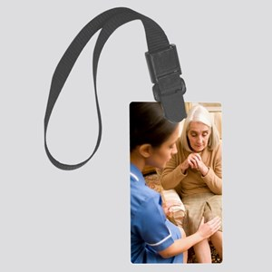 Nurse on a home visit Large Luggage Tag