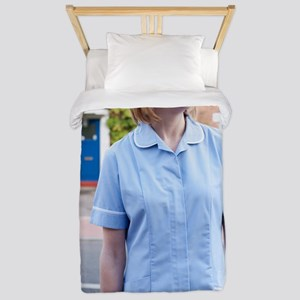 Nurse on a home visit Twin Duvet