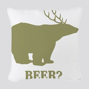 Beer Deer Bear Woven Throw Pillow