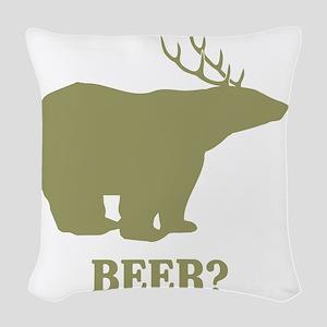Beer Deer Bear Woven Throw Pillow