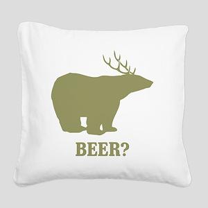 Beer Deer Bear Square Canvas Pillow