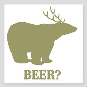 "Beer Deer Bear Square Car Magnet 3"" x 3"""