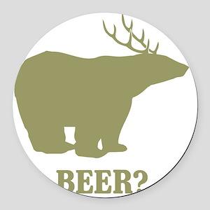 Beer Deer Bear Round Car Magnet