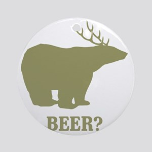 Beer Deer Bear Round Ornament