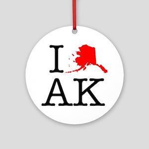 I Love AK Alaska Round Ornament